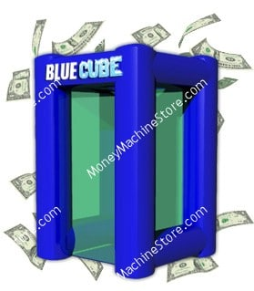 Blue Cube Inflatable Money Machine